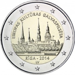 LETONIA 2 EUROS 2014 RIGA CAPITAL EUROPEA DE LA CULTURA SC MONEDA CONMEMORATIVA Latvia
