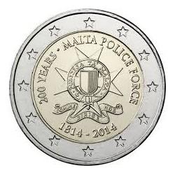 MALTA 2 EUROS 2014 POLICIA MALTESA 200 ANIVERSARIO @RARA@ SC MONEDA CONMEMORATIVA