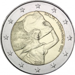 MALTA 2 EUROS 2014 INDEPENDENCIA EN 1964 DE INGLATERRA 50 ANIVERSARIO SC MONEDA CONMEMORATIVA