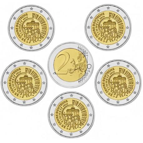 ALEMANIA 2 EUROS 2015 A+D+F+G+J UNIFICACION 25 ANIVERSARIO SC 5 MONEDAS CONMEMORATIVAS Germany