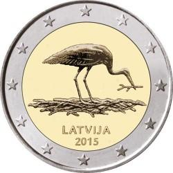 . 2 EUROS 2015 LETONIA CIGUEÑA NEGRA SC Moneda Coin