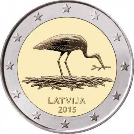 LETONIA 2 EUROS 2015 LA CIGUEÑA NEGRA SC MONEDA CONMEMORATIVA Latvia