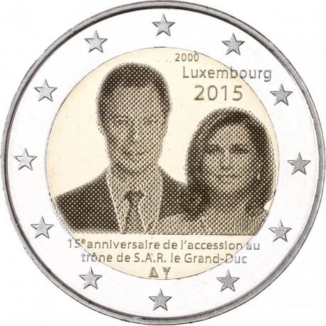 LUXEMBURGO 2 EUROS 2015 DUQUE JEAN 15 ANIVERSARIO DE SU ASCENSION AL TRONO SC MONEDA CONMEMORATIVA Luxembourg