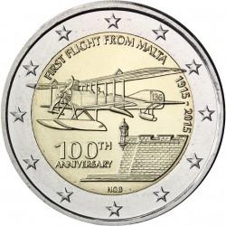 . 2 EUROS 2015 MALTA PRIMER VUELO EN AVION SC MONEDA COIN