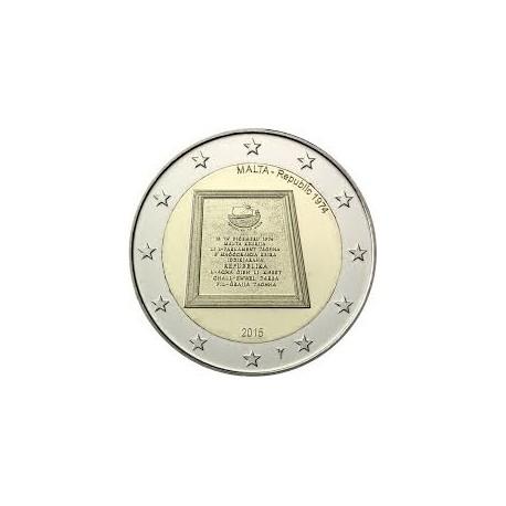MALTA 2 EUROS 2015 ANIVERSARIO REPUBLICA 1974 SC MONEDA CONMEMORATIVA