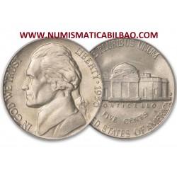 ESTADOS UNIDOS 5 CENTAVOS 1940 S THOMAS JEFFERSON y MONTICELLO KM.192 MONEDA DE NICKEL SC USA 5 Cents WWII