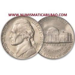 ESTADOS UNIDOS 5 CENTAVOS 1946 P THOMAS JEFFERSON y MONTICELLO KM.192A MONEDA DE NICKEL SC USA 5 Cents