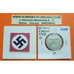 ALEMANIA 2 MARCOS 1937 G AGUILA y ESVASTICA NAZI III REICH KM.93 MONEDA DE PLATA @ESCASA - MUESCAS@ Germany 2 Reichsmark Ref.1
