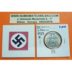 ALEMANIA 2 MARCOS 1939 A AGUILA y ESVASTICA NAZI III REICH KM.93 MONEDA DE PLATA EBC @PUNTITOS@ Germany 2 Reichsmark Ref.2