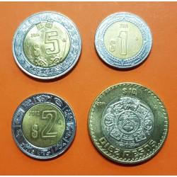 @4 MONEDAS@ MEXICO 1 PESO + 2 PESOS + 5 PESOS + 10 PESOS 2011/2012 10 PESOS 1998 CALENDARIO AZTECA TODAS BIMETALICAS SC-
