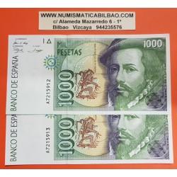 @CADA UNO@ ESPAÑA 1000 PESETAS 1992 HERNAN CORTES y PIZARRO Serie A Pick 163 BILLETE SC SIN CIRCULAR Spain UNC BANKNOTE