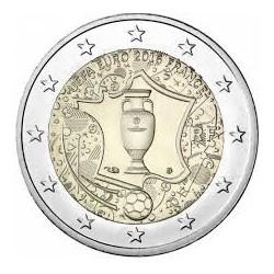 FRANCIA 2 EUROS 2016 EUROCOPA DE FUTBOL TROFEO SC MONEDA CONMEMORATIVA COIN FRANCE