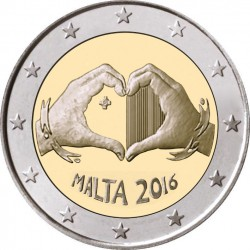 MALTA 2 EUROS 2016 CORAZON AMOR y SOLIDARIDAD SC MONEDA CONMEMORATIVA CHILDREN LOVE & SOLIDARITY
