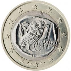 GRECIA 1 EURO 2003 BUHO DE ANTIGUA MONEDA TETRADRACMA MONEDA BIMETALICA SC Greece 1€ coin