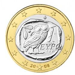 GRECIA 1 EURO 2008 BUHO MONEDA BIMETALICA SC Greece coin