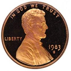 ESTADOS UNIDOS 1 CENTAVO 1983 S ABRAHAM LINCOLN KM.201B MONEDA DE COBRE PROOF USA 1 cent FROM MINT SET
