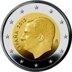 ESPAÑA 2 EUROS 2015 REY FELIPE VI SC MONEDA BIMETALICA NO CONMEMORATIVA Tirada : 400.000 uds.