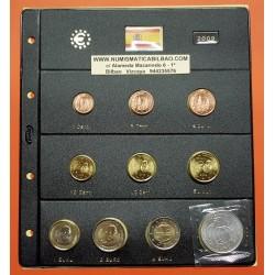 ESPAÑA MONEDAS EURO 2009 SC 1+2+5+10+20+50 Centimos 1+2 EUROS + 2€ EMU + 12 EUROS PLATA JUAN CARLOS I EN HOJA DE PARDO