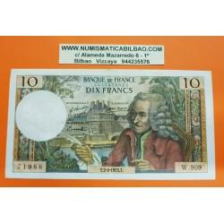 FRANCIA 10 FRANCOS 1973 VOLTAIRE y PALACIOS Serie W.909 - 71988 Pick 147D BILLETE MBC+ France Francs