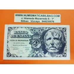 ESPAÑA 5 PESETAS 1947 SENECA Serie D 6749010 Pick 134 BILLETE SIN CIRCULAR @MANCHITAS@ Spain banknote