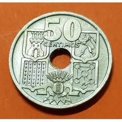 ESPAÑA 50 CENTIMOS 1949 * 19 51 @FLECHAS INVERTIDAS@ ESTADO ESPAÑOL KM.776 MONEDA DE NICKEL SC- @RARA@ 1
