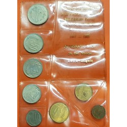 BULGARIA @TIRA DE 8 MONEDAS@ 1+3+5+10+20+20+25 STOTINKI 1951/1954/1959 y 1 LEVA 1960 EPOCA SOCIALISTA Mint sealed Set