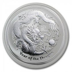 AUSTRALIA 1 DOLAR 2012 AÑO DEL DRAGON 2ª SERIE LUNAR MONEDA DE PLATA $1 dollar silver OZ ONZA OUNCE YEAR OF THE DRAGON