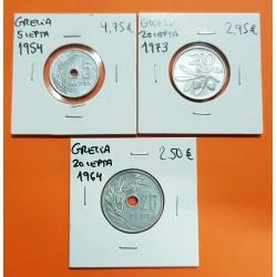 3 MONEDAS x GRECIA 5 LEPTA 1954 KM.83 + 20 LEPTA 1964 KM.79 + 20 LEPTA 1973 KM.104 ALUMINIO SC
