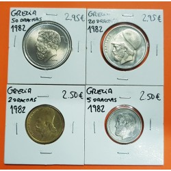 4 MONEDAS x GRECIA 2 DRACMAS 1982 KM.130 + 5 DRACMAS 1982 KM.131 + 20 DRACMAS 1982 KM.133 + 50 DRACMAS 1982 KM.134 NICKEL SC