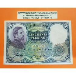 ESPAÑA 50 PESETAS 1931 EDUARDO ROSALES Sin Serie 3427409 Pick 82 BILLETE MBC++ Spain banknote