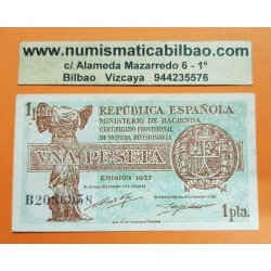 ESPAÑA 1 PESETA 1937 REPUBLICA ESPAÑOLA Serie B 2086958 Pick 94 BILLETE SC @DOBLEZ CENTRAL@ Spain banknote