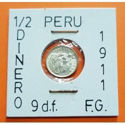 PERU 1/2 DINERO 1911 F.G. Ceca de Lima DAMA SENTADA KM.206.2 MONEDA DE PLATA SC República Peruana