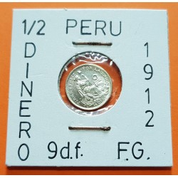 PERU 1/2 DINERO 1912 F.G. Ceca de Lima DAMA SENTADA KM.206.2 MONEDA DE PLATA SC República Peruana