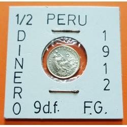 PERU 1/2 DINERO 1914 F.G. Ceca de Lima DAMA SENTADA KM.206.2 MONEDA DE PLATA SC @DEFECTO@ República Peruana