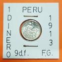 PERU 1 DINERO 1913 F.G. Ceca de Lima DAMA SENTADA KM.204.2 MONEDA DE PLATA SC República Peruana