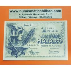 @OFERTA@ BILLETE LOCAL 1 PESETA 1937 AYUNTAMIENTO AJUNTAMENT DE MATARO SC @IMPERFECCIONES@ GUERRA CIVIL EN ESPAÑA 1 Pesseta