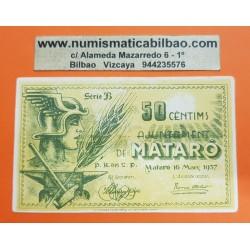 @OFERTA@ BILLETE LOCAL 50 CENTIMOS 1937 AYUNTAMIENTO AJUNTAMENT DE MATARO Serie B SC @IMPERFECCIONES@ GUERRA CIVIL EN ESPAÑA
