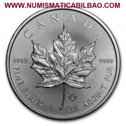 @1 ONZA 2019@ CANADA 5 DOLARES 2019 HOJA DE ARCE MONEDA DE PLATA PURA SC $5 Dollars Coin OZ OUNCE MAPLE LEAF