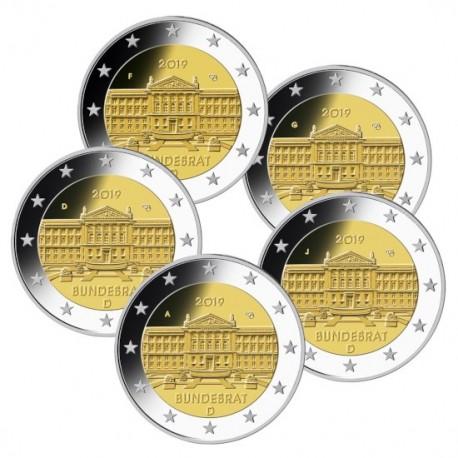 ALEMANIA 2 EUROS 2019 A+D+F+G+J BUNDESRAT 70 ANIVERSARIO SC 5 MONEDAS CONMEMORATIVAS Germany 2 Euro coin