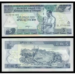 ETIOPIA 5 BIRR 2007 2015 AGRICULTOR, FELINO y CABRA Pick 47G BILLETE SC Africa Ethiopia UNC BANKNOTE