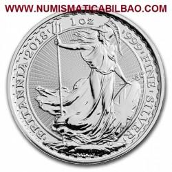 1 ONZA 2018 INGLATERRA 2 LIBRAS 2018 BRITANNIA MONEDA DE PLATA SC United Kingdom £2 Pounds silver coin ONZA OZ