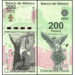 MEXICO 200 PESOS 2010 (2009) BICENTENARIO DE INDEPENDENCIA Pick 129 BILLETE SC @RARO@ MEJICO BANKNOTE UNC