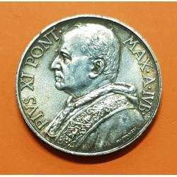 VATICANO 10 LIRAS 1933 1934 JUBILEO DEL PAPA PIO XI KM.18 MONEDA DE PLATA MBC++ 10 Lire POPE PIUS XI