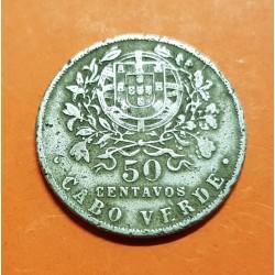 CABO VERDE 50 CENTAVOS 1930 DAMA y ESCUDO KM.4 MONEDA DE NICKEL @ESCASA@ Cape Verde REPUBLICA PORTUGUESA