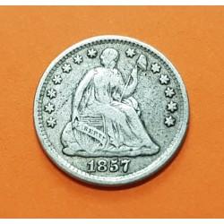 ESTADOS UNIDOS 5 CENTAVOS 1857 SEATED LIBERTY KM.A62.2 MONEDA DE PLATA USA Half Dime 1857 silver coin