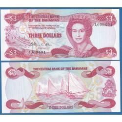 BAHAMAS 3 DOLARES 1974 REINA ISABEL II y REGATA DE VELA Pick 44A BILLETE SC $3 Dollars