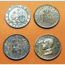 4 monedas x 1 CENTIMO 1870+1906+1912+1913 GOBIERNO PROVISIONAL y REY ALFONSO XIII BRONCE España