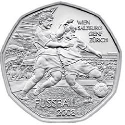 AUSTRIA 5 EUROS 2008 EUROCOPA DE FUTBOL JUGADORES BERN BASEL INNSBRUCK MONEDA DE PLATA SC Österreich euro silver coin