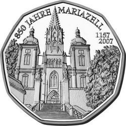 AUSTRIA 5 EUROS 2007 BASILICA DE MARIAZELL MONEDA DE PLATA SIN CIRCULAR Östrerreich euro silver coin