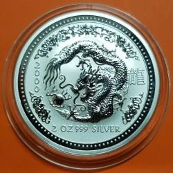 AUSTRALIA 2 DOLARES 2000 AÑO DEL DRAGON 1ª SERIE LUNAR MONEDA DE PLATA $2 Dollar silver 2 ONZAS OZ @RARA@ Drache